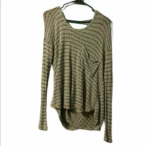 Free People Cozy Striped Long Sleeve Top Size Sm